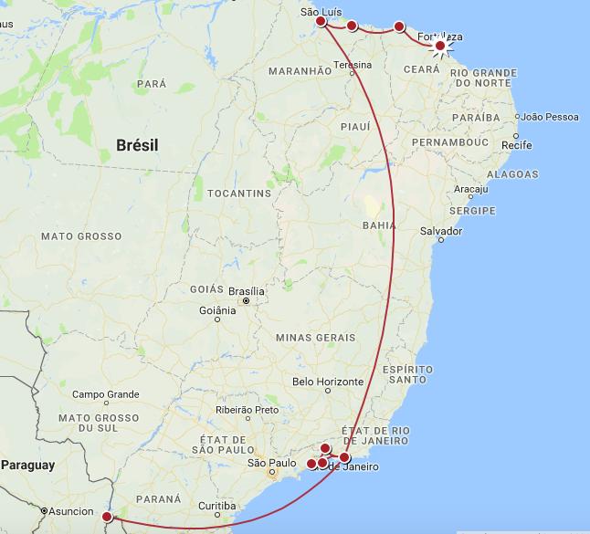 Brésil - Itinéraire